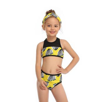 2-14 Years Toddler and Teen Girls Athletic Swimsuits High Neck Front Zipper Sports Crop Top With Boyshorts Kids Bathing Suit - Yellow, Girl 164 12-14T