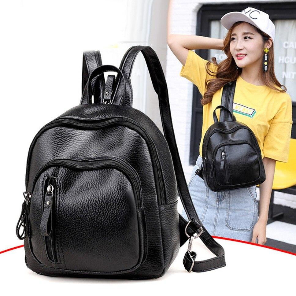 New Women Backpack Preppy Style PU Leather Small Female Backpack Casual Zipper School Bags For Teenage Girls  Mochila Bagpack