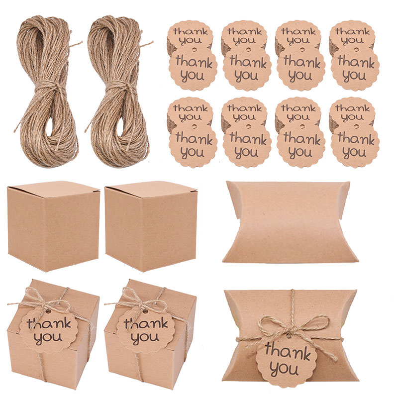 50pcs Square Pillow Kraft Paper Candy Boxes Gift Bag With Thank You Tag Baby Shower Birthday Wedding Party Decoration Gift Favor