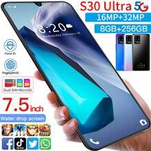 S30 Ultra 7.5 Cal duży ekran 8 + 256GB 10 rdzeń 6800mAh Smartphone 2021 New Arrival 16 + 32MP Face ID z systemem android 10 telefon komórkowy MTK6889