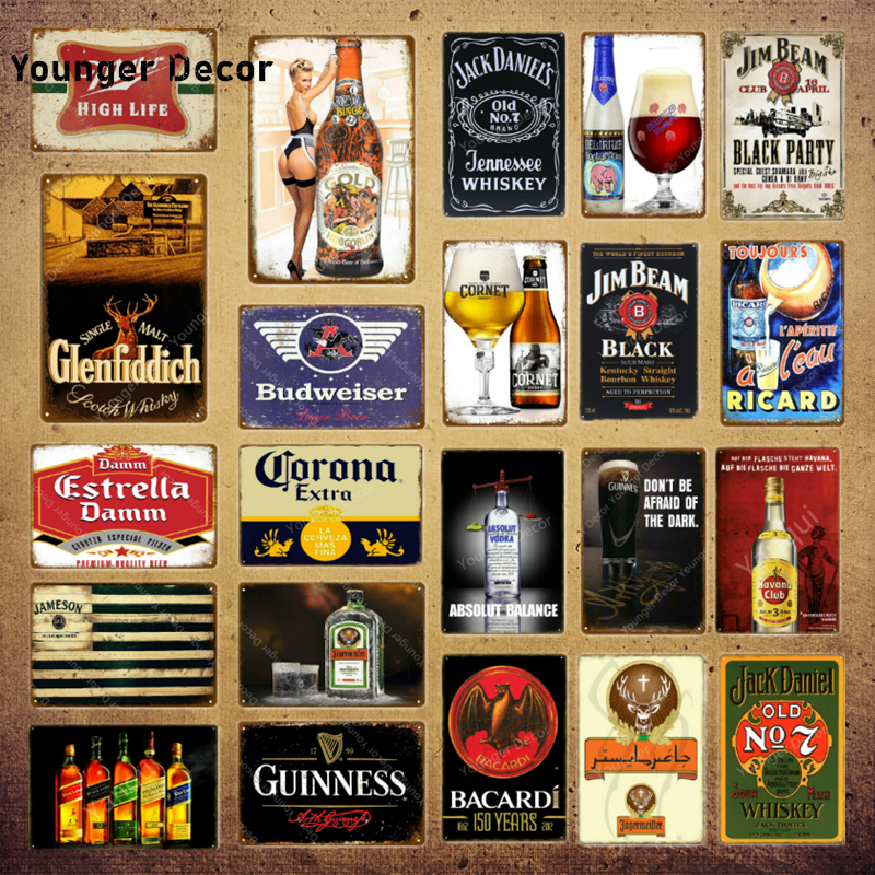 Classic Wine Whiskey Metal Signs Estrella Damm Beer Plaque Vintage Bar Pub Club Man Cave Wall Decor Black Party Poster YI-071(China)