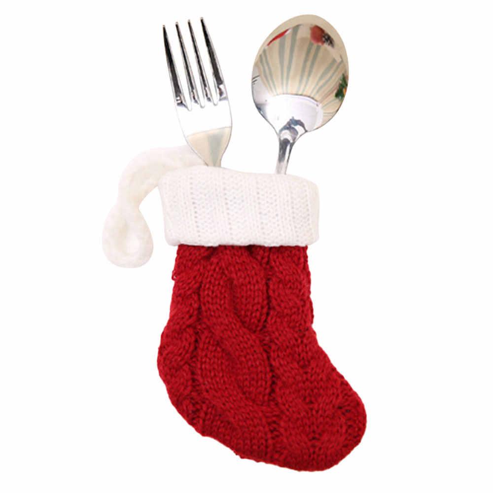 Переносная вилка, ложка, крышка, рождественские носки, украшения, Пылезащитная посуда, рождественские вечерние ножи, нож и вилка, крышка, карман