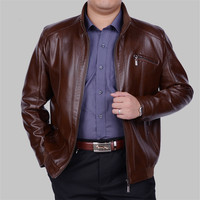 leather jacket men Spring Autumn Casual business jacket Middle aged Men veste cuir homme jaqueta masculina de couro HH021