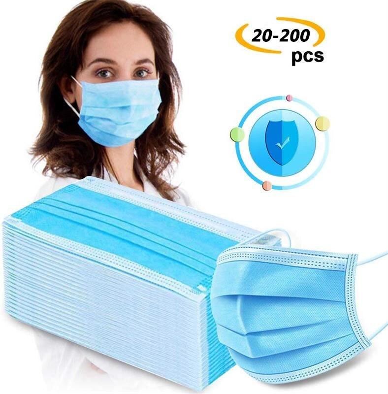 Three Layer Disposable Earhook Masks Dust Mouth Face Mask Mascarilla Facial CoronaVirus Mask Anti Virus Drop Ship 1*20pcs