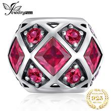 JewelryPalace Created Ruby 925 Sterling Silver Beads Charms Silver 925 Original For Bracelet Silver 925 original Jewelry Making цены