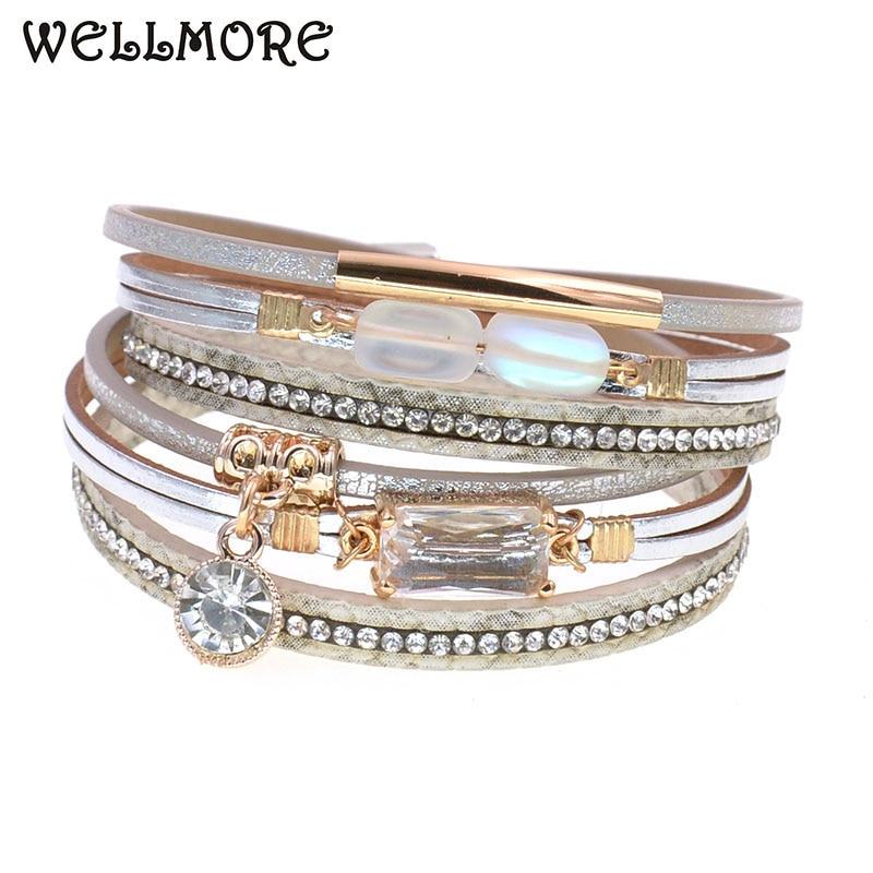 WELLMORE NEW fashion glass bracelet leather charm bracelets for women Luxury Wedding Statement Jewelry Wholesale drop shipping