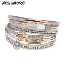 Женский кожаный браслет wellmore из стекла роскошные ювелирные