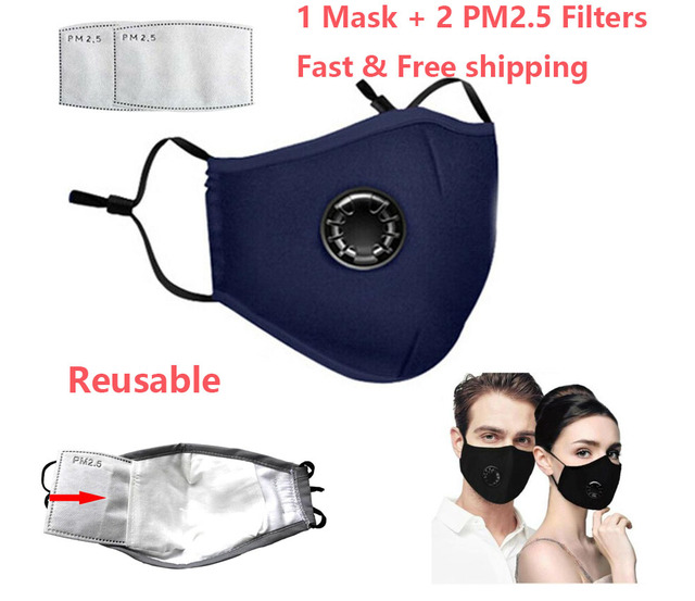 Anti Dust PM2.5 Mouth Mask With 2 Replaceable Filters Breathable Cotton Face Mask Washable Respirator Mouth-mask Adult Mask