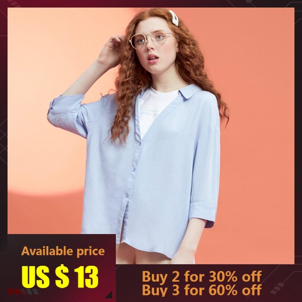 Metersbonwe femmes Blouses 2019 mode à manches courtes chemise faux deux pièces doux filles Blouse chemise décontracté hauts nouveauté