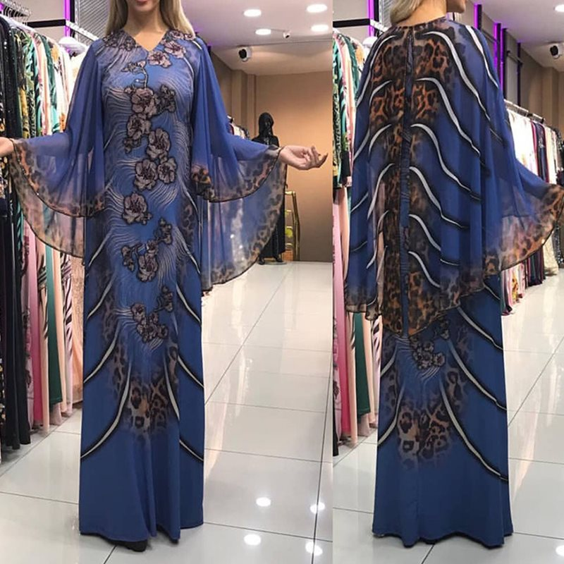 Plus Size African Fashion Sexy Luxury Floral Printed Women Maxi Straight Dresses Cape Cloak Chiffon Robe Female Evening Party in Dresses from Women 39 s Clothing