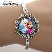JOINBEAUTY, мультяшная Принцесса Эльза Анна, Снежная королева, кружевной браслет, очаровательные стеклянные браслеты с кабошонами, регулируемый браслет, подарок для девочки SQ11