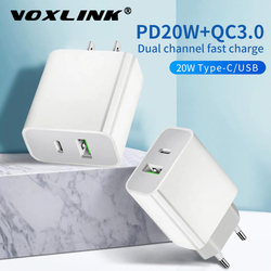 VOXLINK EU/US Plug PD20W USB Fast Charger 3A Quik Charge 3.0 Mobile Phone Charger For iPhone 12 Samsung Xiaomi Fast Wall Charger