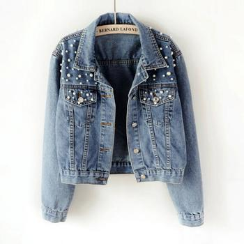 Helisopus Autumn Long Sleeve Casual Denim Jacket Women Pearl Beading Crop Jeans Jacket Korean Plus Size Bomber Coat