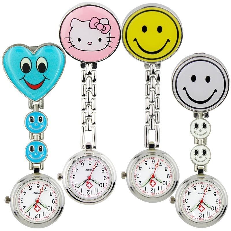 Pocket And Watch Watch Lady Butterfly Smileying Face Quartz Clip Brooch Nurse Hanging Pocket Watch Hot Sale Watch Men's Women's
