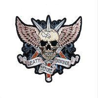Large Three Swords Skull Wings Patch Badge Embroidery Cloth Back Stickers Iron On Patches DIY For Clothing Denim Vest Decoration