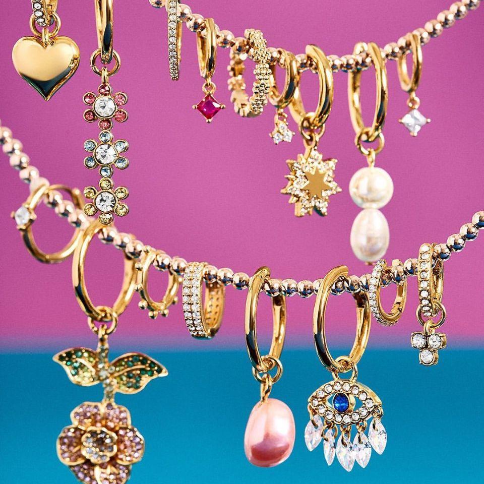Hot Sale Freshwater Pearl Hoop Earring female crystal CZ Zircon Gold Huggie circle Earrings Set Geometric statement Jewelry DIY