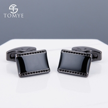 TOMYE black gun square cufflinks arabic brass classic men for shirt customize XK19S090