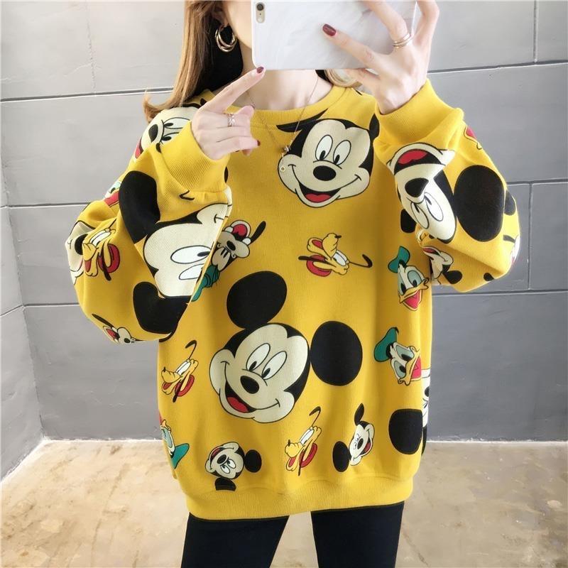 Harajuku Cartoon Comic Mickey Printing Fashion Trend Pullover Sweatshirt Lovers Kawaii Women Casual Long Sleeve Hoodies Tops