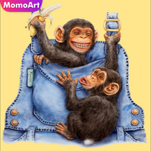MomoArt Diamond Painting Monkey Mosaic Full Drill Square Rhinestone Embroidery Animal Home Decor