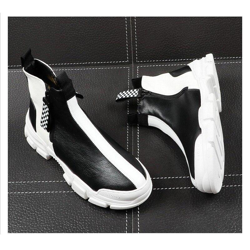 2019 Элитный бренд Для мужчин модные высокие кроссовки черный, белый цвет клетчатый полусапожки Повседневное высокая обувь Для мужчин для от... - 2