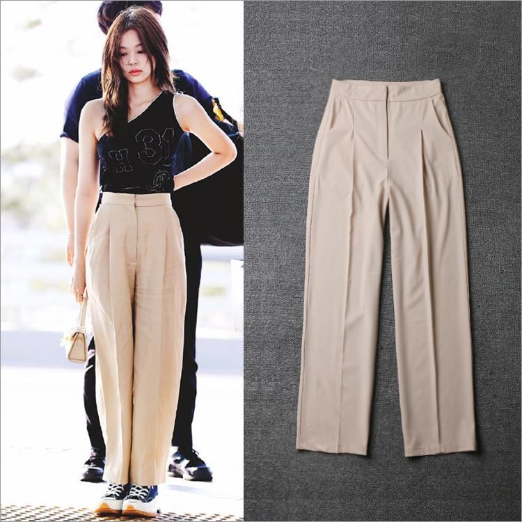 Kpop 2020 Summer New Blackpink JENNIE Same Loose Casual High Waist Trousers Women Streetwear Wild Korean Harajuku Straight Pants
