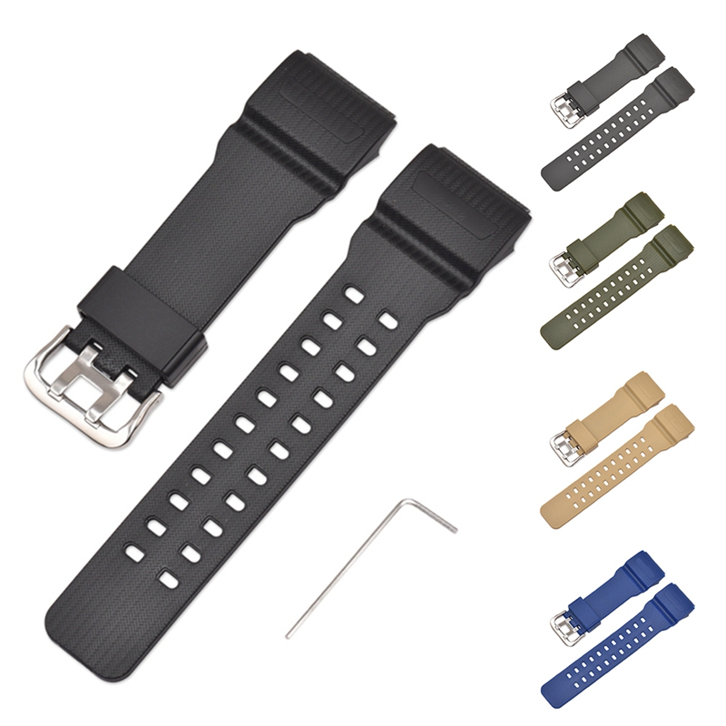 Watch Bands Replacement Accessories Watch Band Strap with Spanner/Allen Key Pin Buckled Resin for Casio GG--1000/GWG-100 image