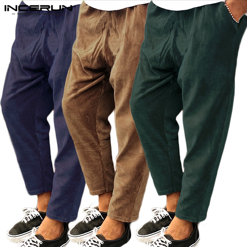 INCERUN Men Brand Casual Trousers Solid Corduroy Joker Elastic Waist Sweatpants Autumn FashionTrend Joggers Mens Harem Pants