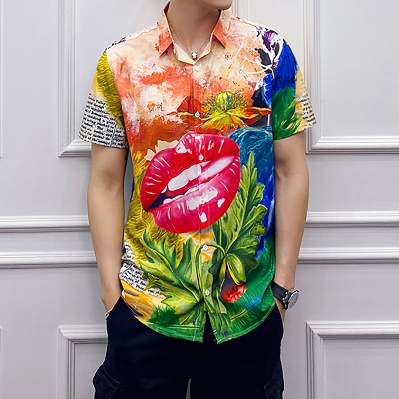 Korean Men Clothes 2020 Summer Personality Flower Printing Tide Male Loose Short Sleeve Casual Shirt Chemise Hawaienne Homme
