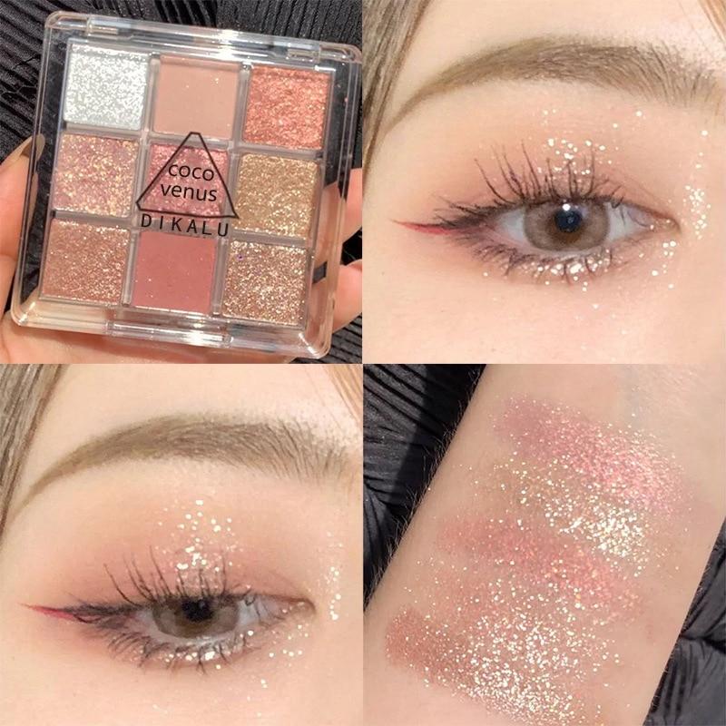 Dikalu 9 цветов матовые тени для век Палитра металлик Алмазный макияж Пигмент хайлайтер мерцающий блеск водостойкие тени для век TSLM2