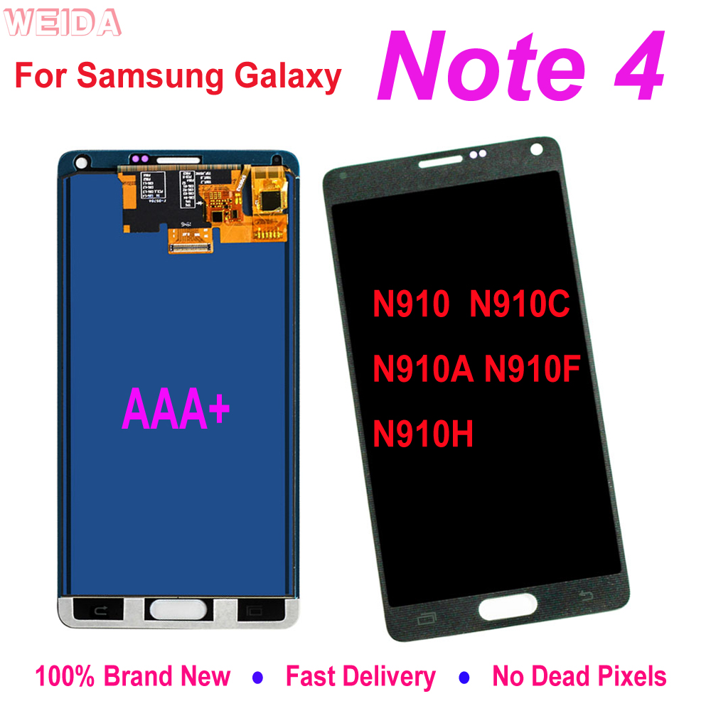AAA Quality For Samsung Galaxy Note 4 Note4 N910 N910C N910A N910F N910H LCD Display Touch Digitizer Assembly Replacement Parts