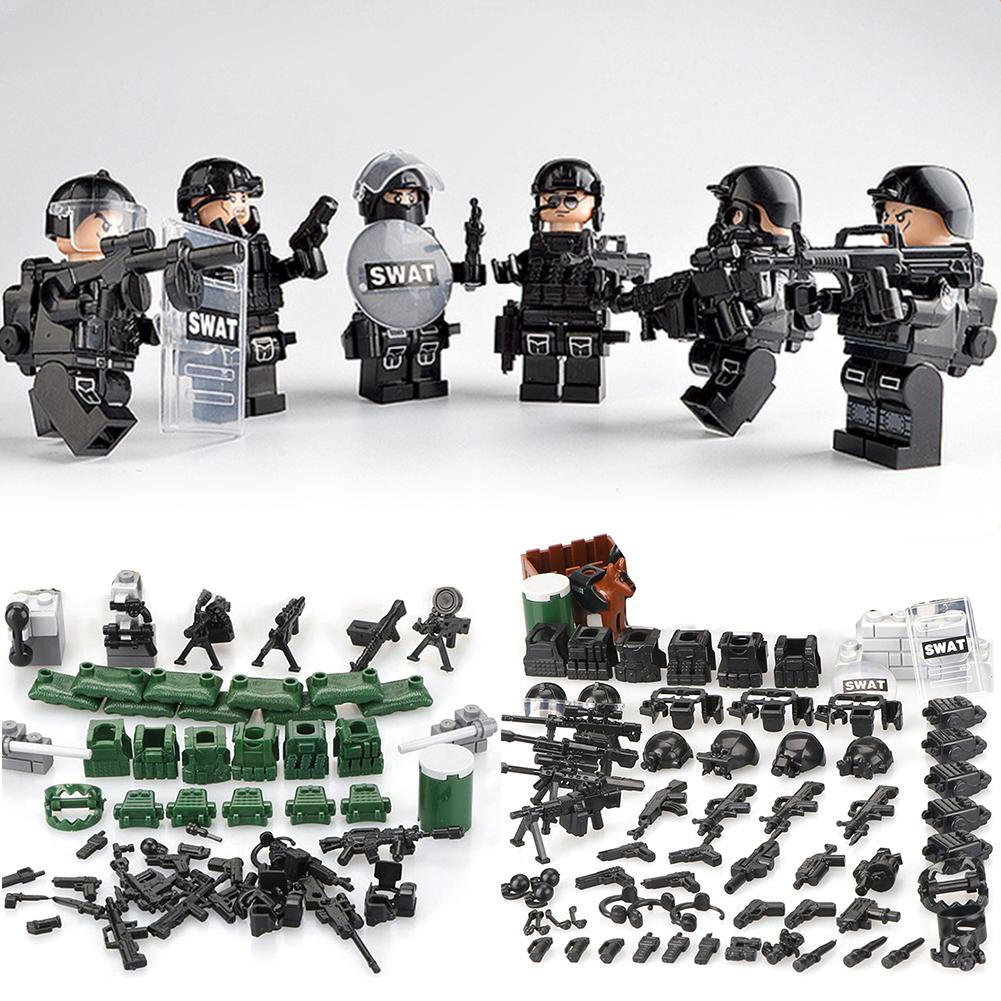 Military Special Forces Soldiers Bricks Figures Guns Weapons Compatible Legoings Armed SWAT Building Blocks Ww2 Toys