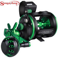 Sougayilang A IACA 6+1BB 5.1:1 Saltwater Trolling Fishing Reels Full Metal Drum Fishing Reel Right/Left Hand Max Drag 25kg Pesca
