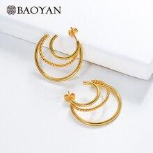 Baoyan European Gold Hoop Earrings Wholesale Minimalism Loop Big Circle Golden Stainless Steel For Women
