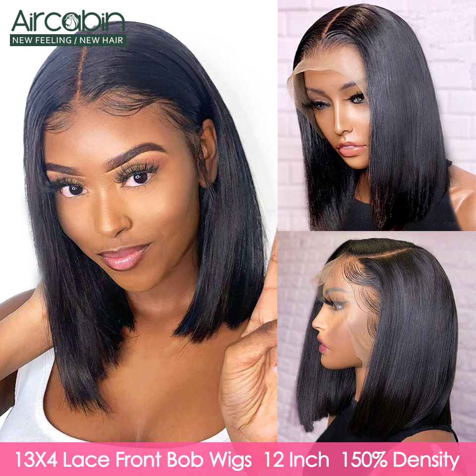 Aircabin Straight Lace Front Bob Wigs Brazilian Remy Human Hair Short Glueless Lace Closure Bob Wigs For Women Frst Shipping