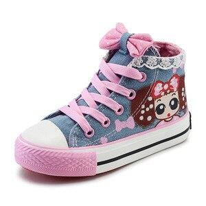 Image 3 - תינוק ילדים סניקרס ילדה קטנה נעלי בד עם תחרה אנטי חלקלק פונקציה עבור בית ספר וקניות