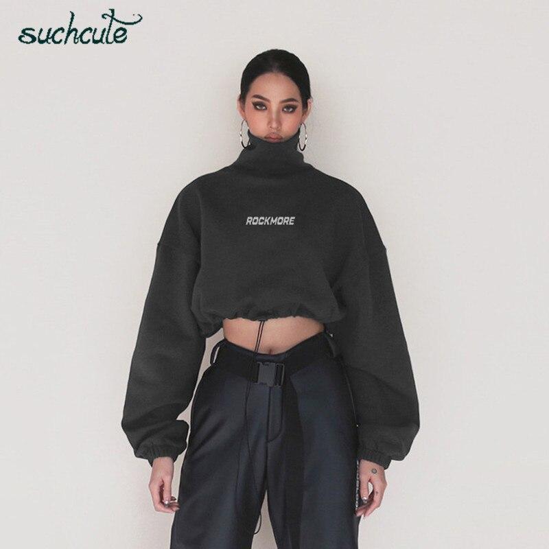 SUCHCUTE Turtleneck Women Hoodies Pullover High Neck Autumn Winter 2019 Warm Korean Style Gothic Hoodie Female Streetwear Clothe