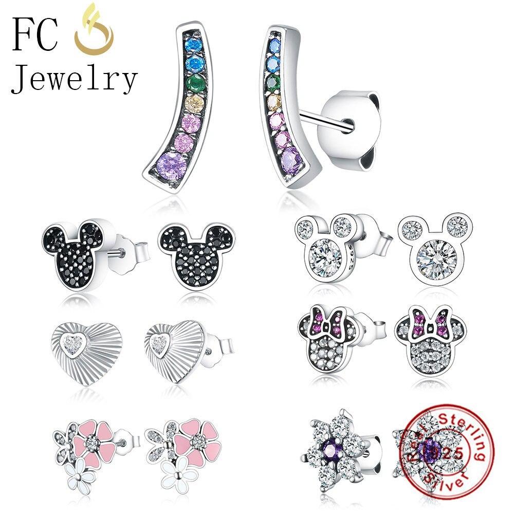FC Jewelry 925 Sterling Silver Cute Cartoon Mickey Black Cubic Zirconia Crystal Stone Stud Earrings For Women Girl Brincos 2018