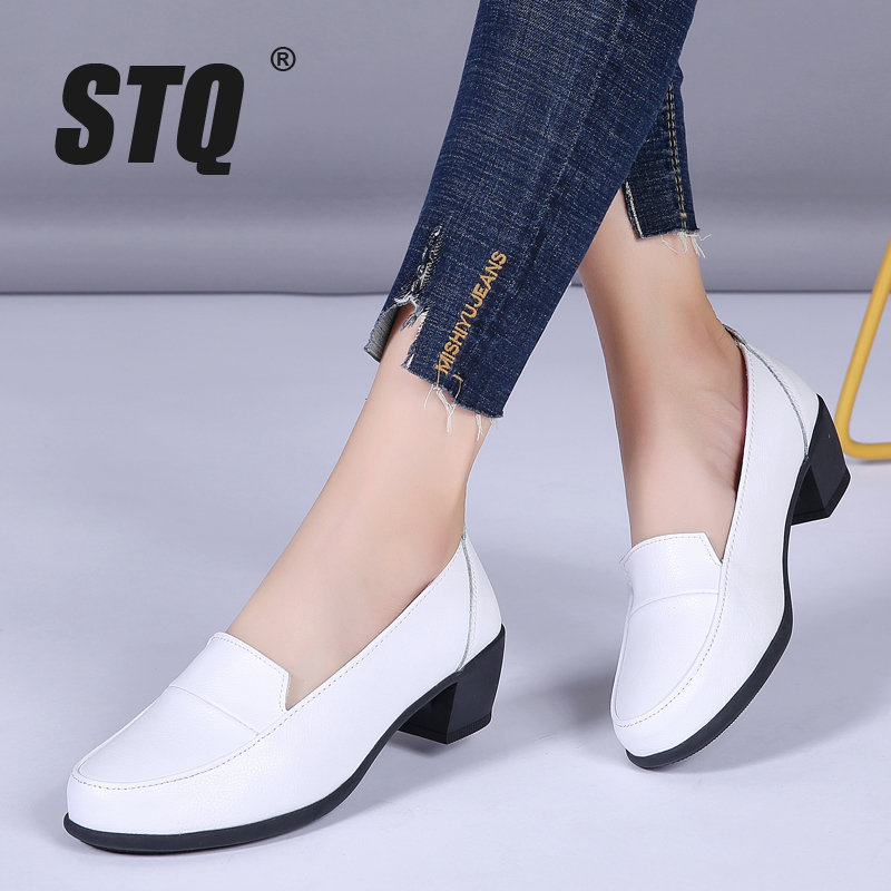 STQ Autumn Women Med Heel Pumps Shoes Ladies Slip On Casual Pumps Shoes Female Comfortable High Heel Winter Shoes HBR799