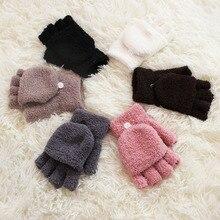 Sparsil Unisex Half Finger Flip Gloves Women Coral Velvet Co