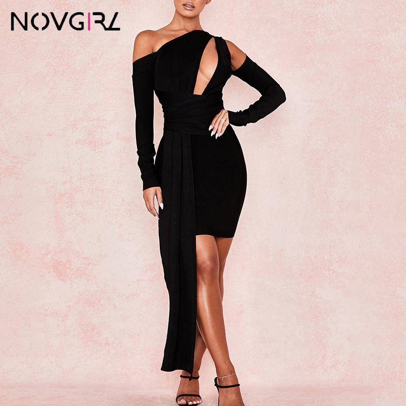Novgirl Black Bodycon Bandage <font><b>Dress</b></font> Women Vintage Party Vestidos <font><b>2019</b></font> <font><b>Sexy</b></font> Hollow Out One Shoulder <font><b>Mini</b></font> Celebrity <font><b>Runway</b></font> <font><b>Dresses</b></font> image