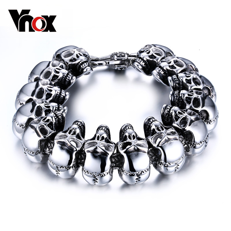 "Vnox Cool Skull Men Bracelet Jewelry Stainless Steel Skeleton Chain Heavy Puck Jewelry 8.5"" Halloween Undead Decorations"