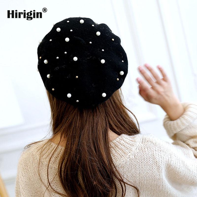 Nova planície cores pérola rebite lã boina chapéu das senhoras das mulheres meninas moda outono inverno barato preto vermelho cinza