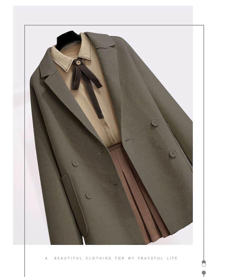 3PCs Autumn Vintage School Woolen Coat. Shirt & Skirt 2