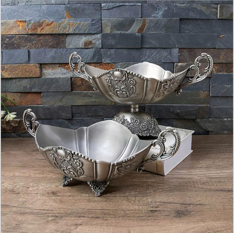 Bol à fruits décoratif en métal | Rétro Europe plateau à fruits secs, plat à bibelot pour la décoration de la maison