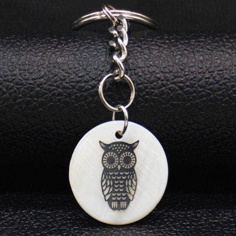 2019 Fashion Owl Stainless Steel Shell Key Chains Women Silver Color Key Chains Jewelry llaveros para mujer K77687B in Key Chains from Jewelry Accessories