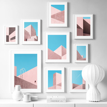 Geometric Pink House Building Landscape Nordic Posters And Prints Wall Art Canvas Painting Pictures For Living Room Decor