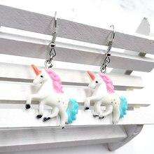 1 пара мультяшных цветных градиентных сережек с единорогом кулон