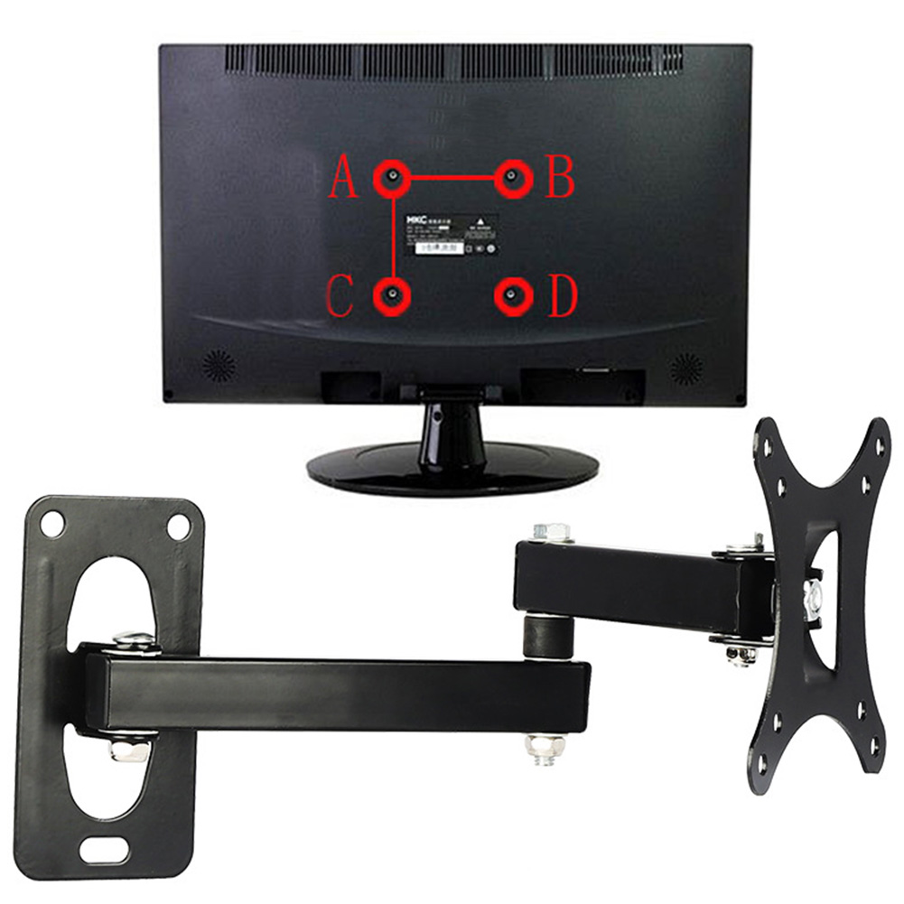 TV Mount Set Bracket Adjustable Displayer Frame Support Home Use Rotatable Wall Hanging Easy Install Coating For 10-24 Inches