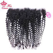 Human-Hair-Closure Hair-Frontal Curly Queen Kinky Remy Natural-Color Hair-13x4 with Pre
