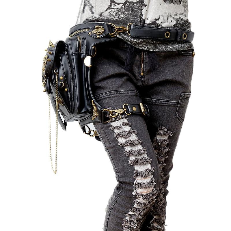Nouveau Steampunk croix corps Rivet crâne extérieur tactique taille sac offre spéciale Creative taille Pack